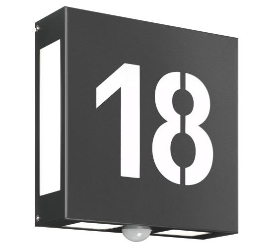 CMD Wandleuchte mit Hausnummer und Bewegungsmelder 62/HN/N/BM